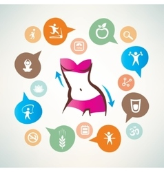 fitness and body care infographics icons vector image