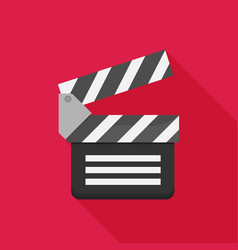 Flat clapboard icon with long shadow vector