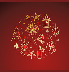 Flat golden christmas icons on red background vector