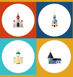 Flat icon church set of traditional religious vector