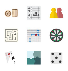 Flat icon games set of lottery ace sea fight and vector