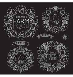 Fruits Vegetables Monogram Black vector image
