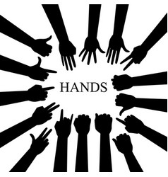 hand silhouettes set vector image