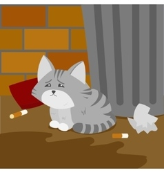 Homeless kitten is suffering on the street vector