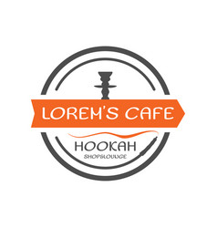 hookah label badge vintage shisha round style vector image