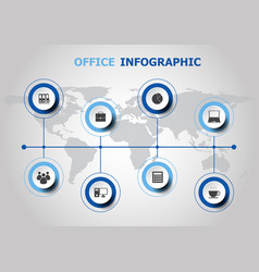 Infographic design with office icons vector