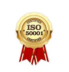 ISO 50001 standard certified rosette - energy vector image