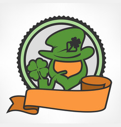 leprechaun circle logo vector image