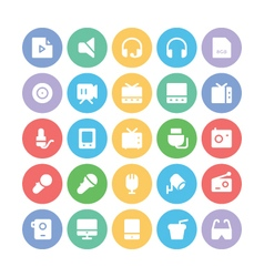 Multimedia colored icons 10 vector