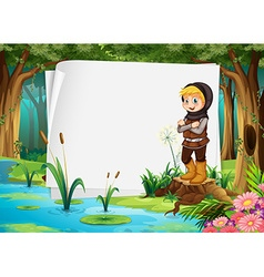 Paper design with hunter in the woods vector image vector image