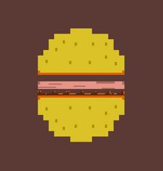 Pixel icon in flat style hamburger vector
