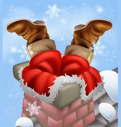Santa stuck in a chimney vector