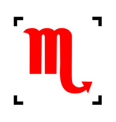 Scorpio sign red icon inside vector
