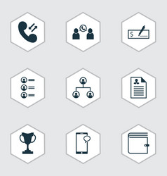 Set of 9 management icons includes job applicants vector