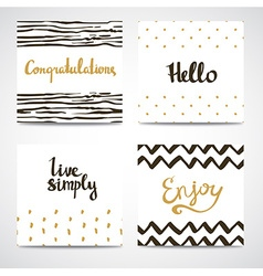 Set of abstract cards in gold white and black vector image vector image