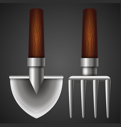 Shovel and pitchfork for the garden vector