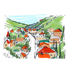 Sketch of mountain landscape with georgian town vector