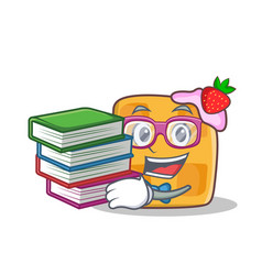 Student waffle character cartoon design with book vector