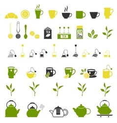 Tea icons pots set vector