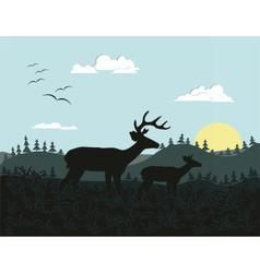 Wild nature on sunrise vector image