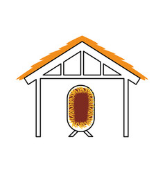 Wooden hut house and crib manger design image vector