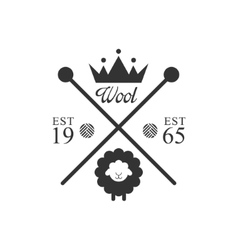 Wool product logo design with crown vector
