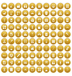 100 chemical industry icons set gold vector