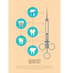Dentist banner with syringe and tooth symbols vector