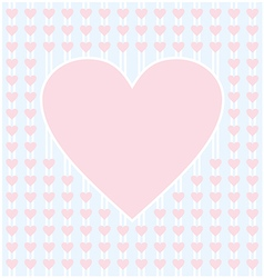 Frame border shaped from pink heart on light blue vector