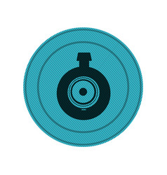 blue circular frame with video security camera vector image