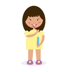 girl brushing her teeth vector image