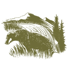 Woodcut Bear Scene vector image