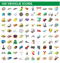 100 vehicle icons set cartoon style vector
