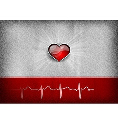 Medical cardio heart grey red vector