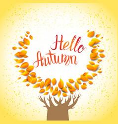Hello autumn tree vector