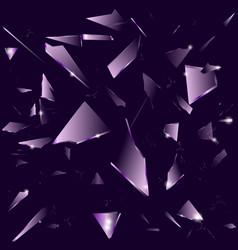 broken glass on the dark purple background vector image