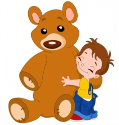 Kid hug bear vector
