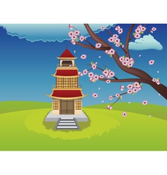 Oriental house and blooming sakura2 vector