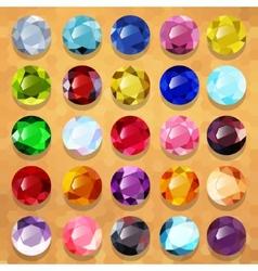 Set of multicolored precious stones round vector image