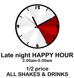 Happy hour concept with clock for pubs or clubs vector