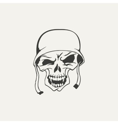 Skull in helmet black and white vector