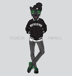 Black leopard dressed up in swag urban style vector