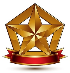 3d golden heraldic blazon with glossy pentagonal vector