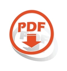 Pdf download sign sticker orange vector