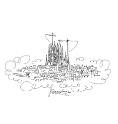 Barcelona cityscape sketch for your design vector