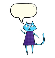 Cute cartoon black cat waving with speech bubble vector