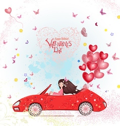 Happy young woman in a car with red heart air vector