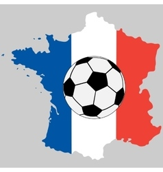 France map with flag and soccer ball vector