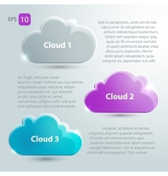 Glass clouds set with place for text vector