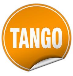 tango round orange sticker isolated on white vector image